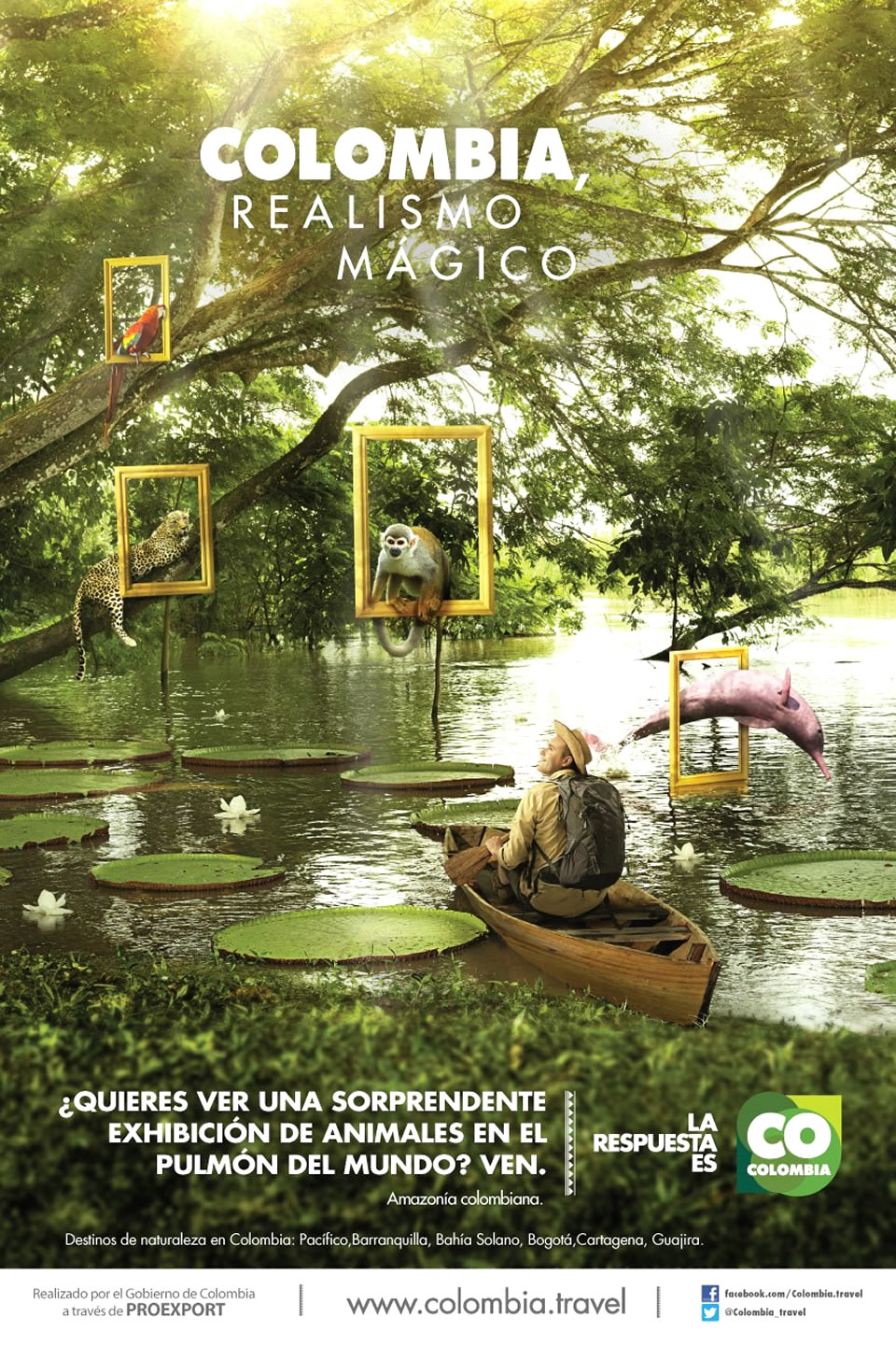 Amazonia Tourism Advertisement Poster of Colombia Magical Realism