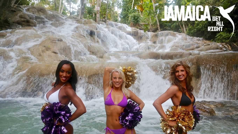 Baltimore Ravens Cheerleaders 2014 Calendar Shoot at Dunn River Falls, Jamaica