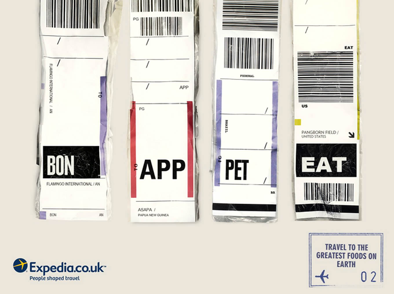 Bon Appetit Airport Code, Luggage Tags Marketing Campaign by Expedia UK