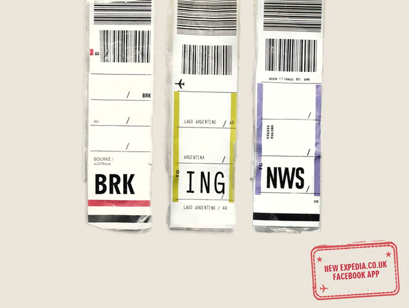 Breaking News Airport Code, Luggage Tags Marketing Campaign by Expedia UK