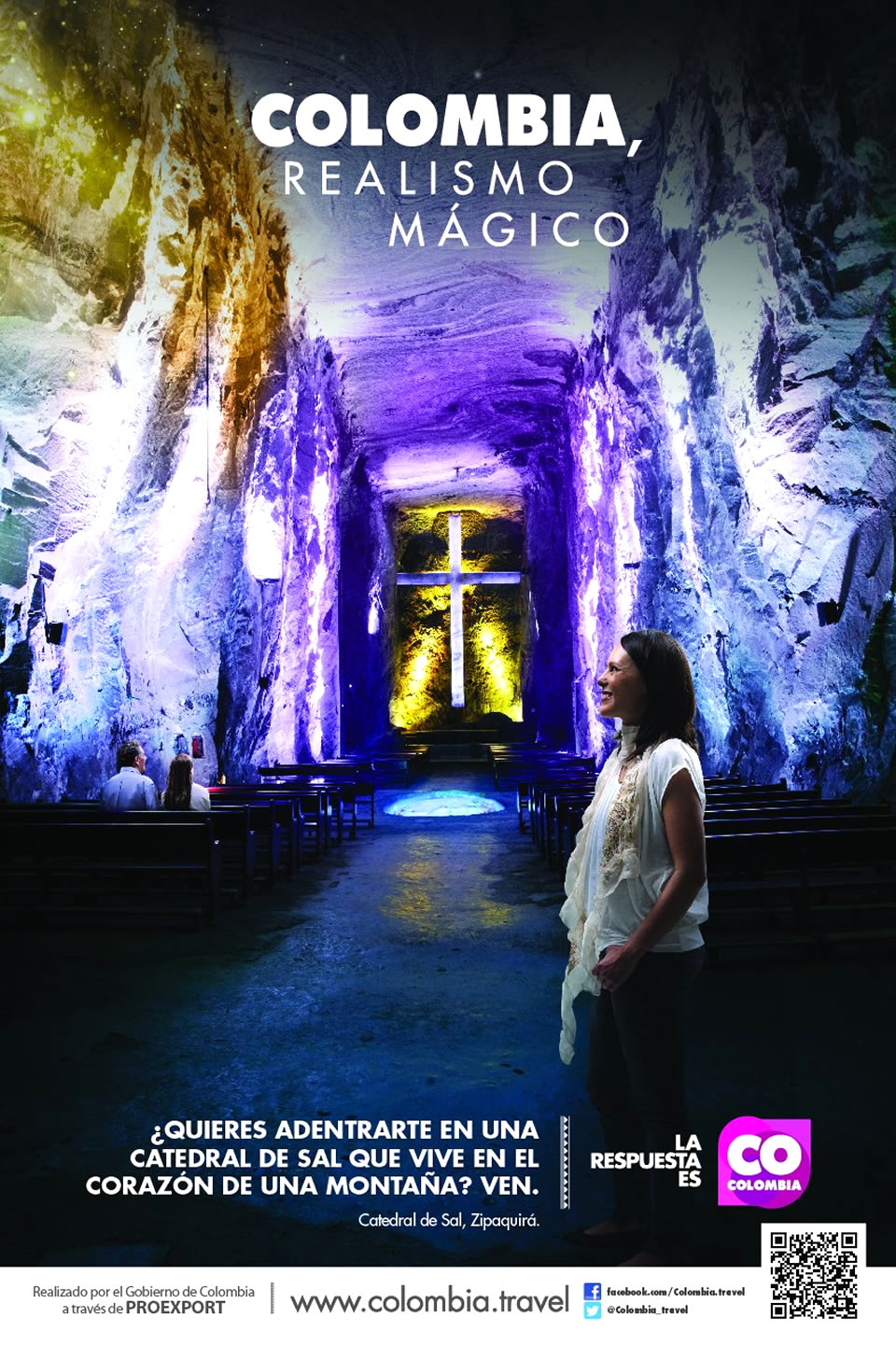 Catedral de Sal Tourism Advertisement Poster of Colombia Magical Realism