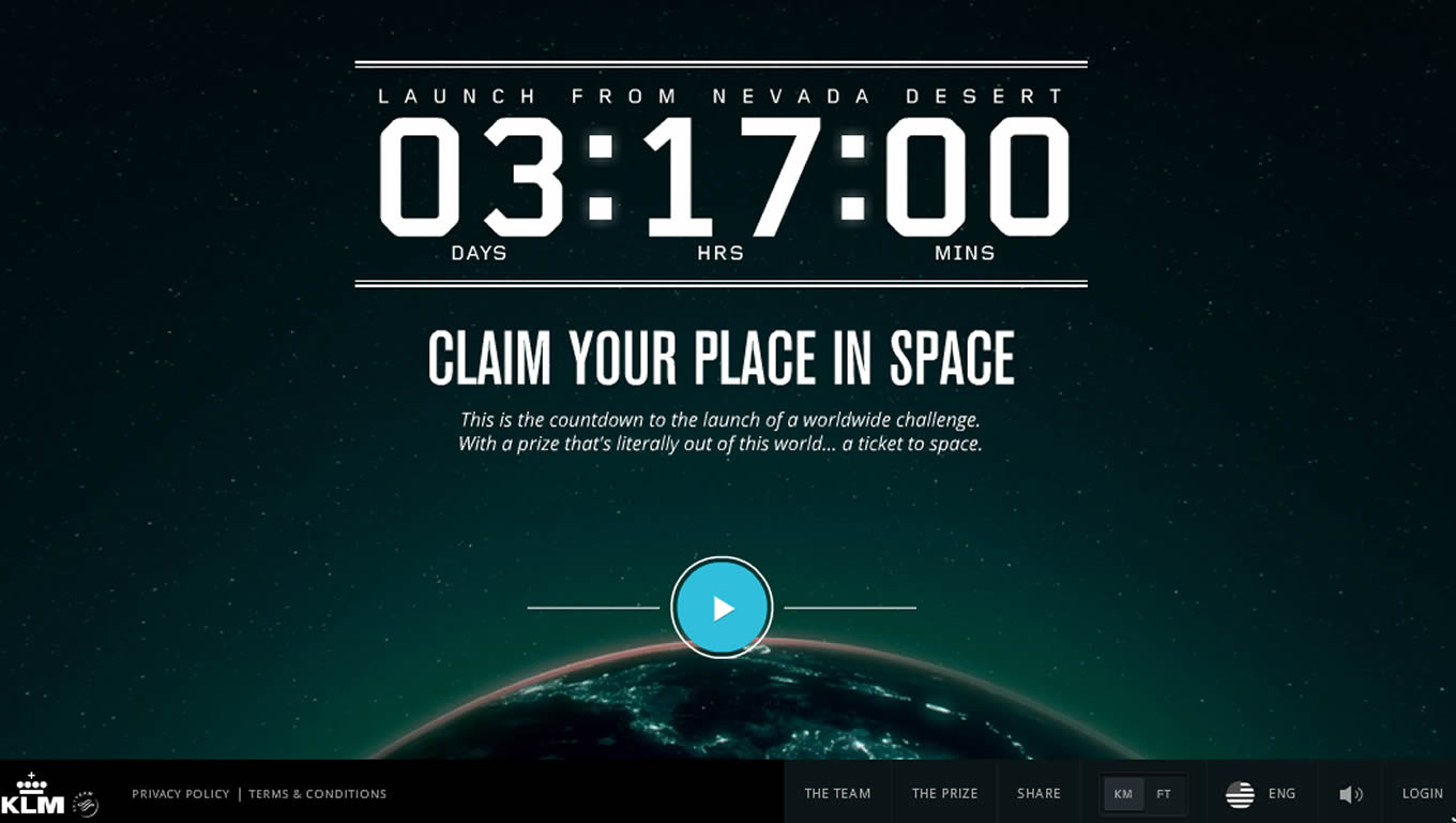 Claim Your Place in Space Marketing Campaign by KLM