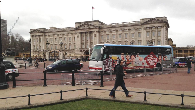 Coach Trip Bus Advertising Outside Buckingham Palace by Eurolines UK