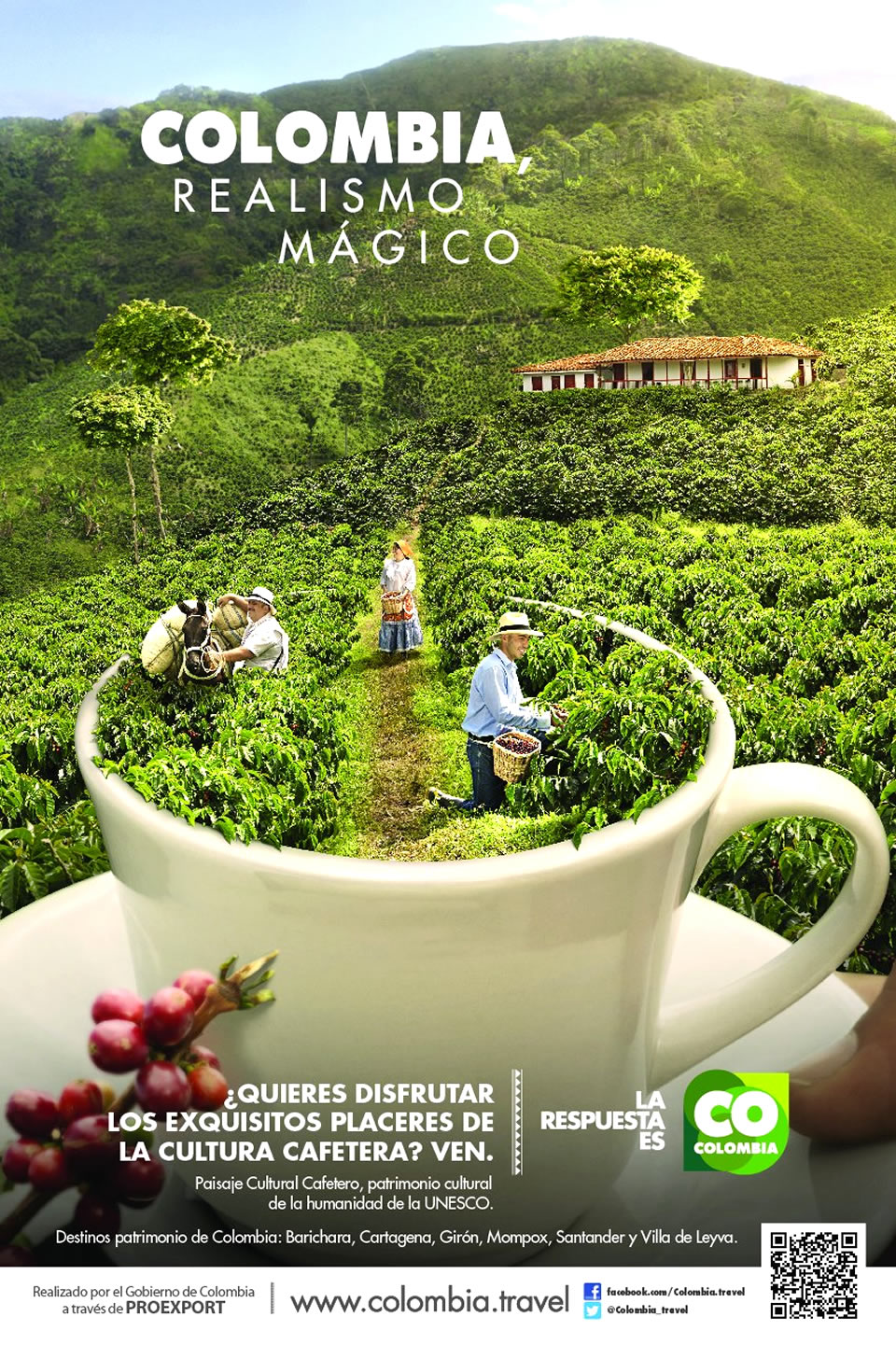 Coffee Cultural Landscape Tourism Advertisement Poster of Colombia Magical Realism