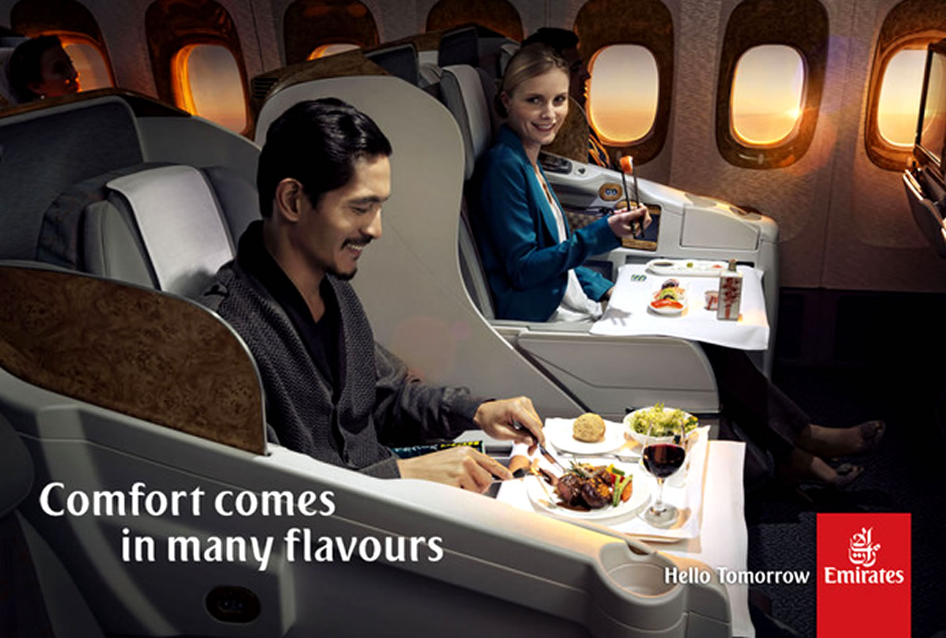 Comfort in Many Flavors, Hello Tomorrow Marketing Campaign by Emirates Airlines