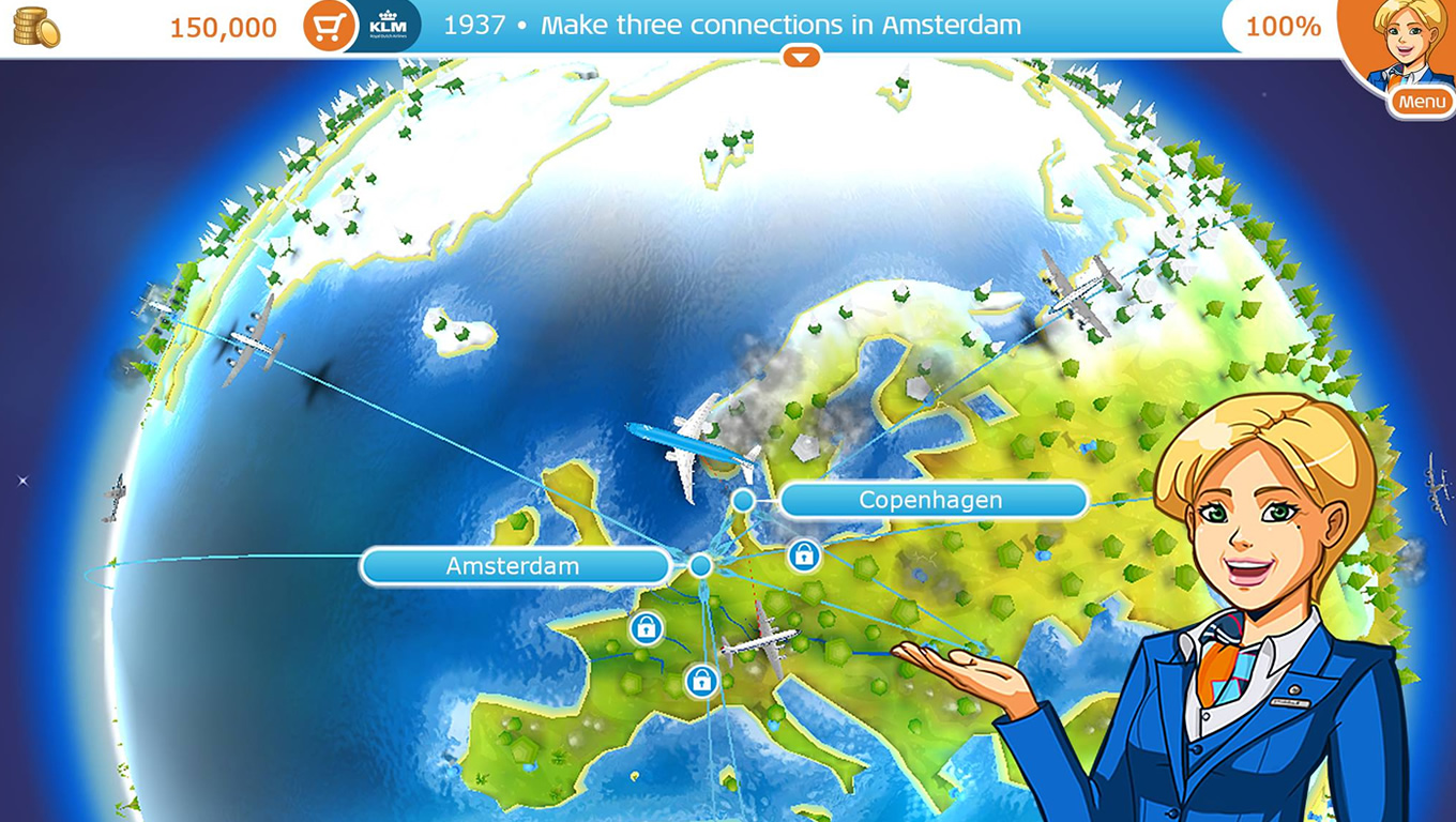 Credits and Rewards of Aviation Empire App as Brand Advertising Campaign by KLM Netherlands