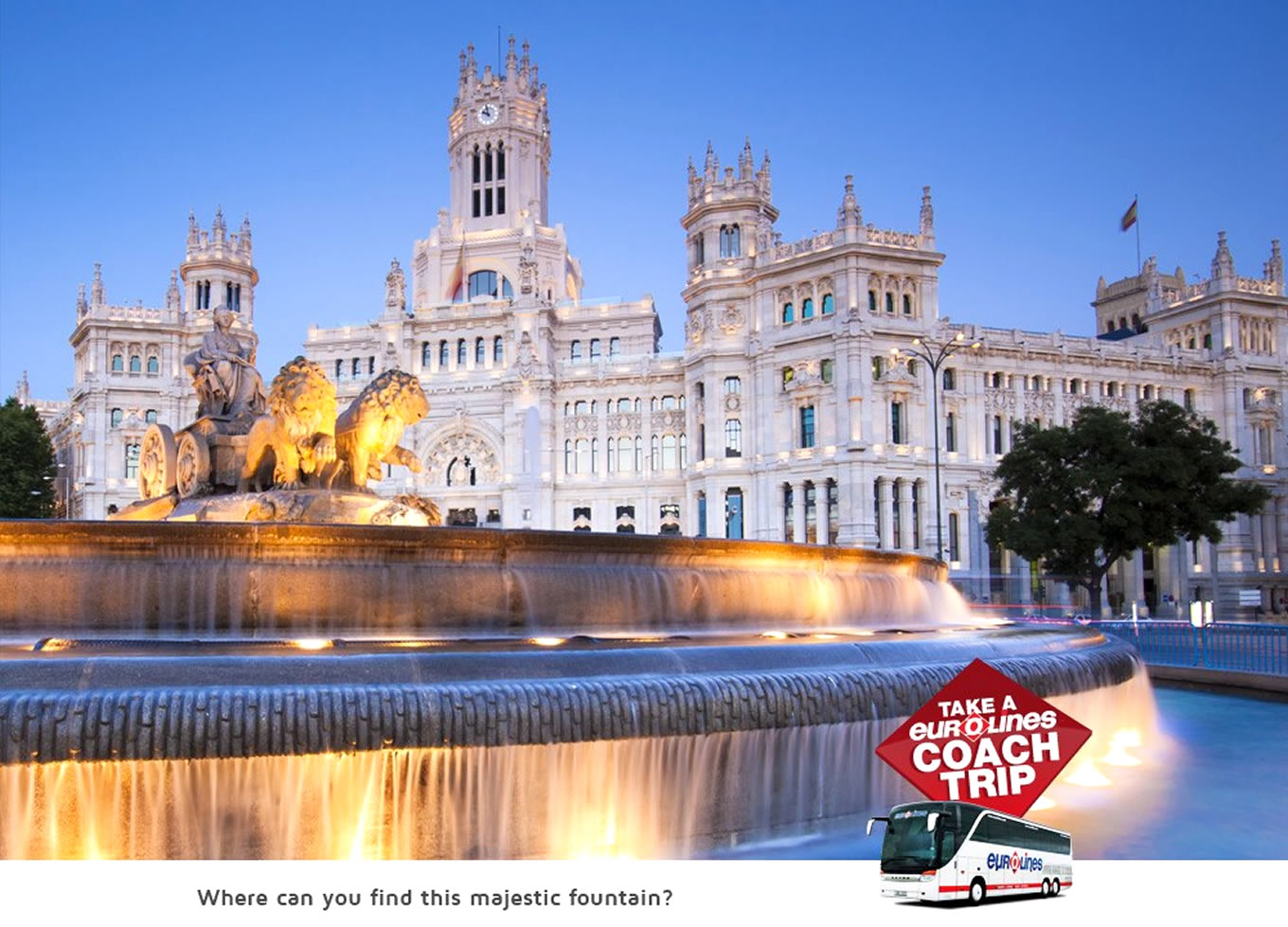 Destination Madrid Poster of Coach Trip Campaign by Eurolines UK