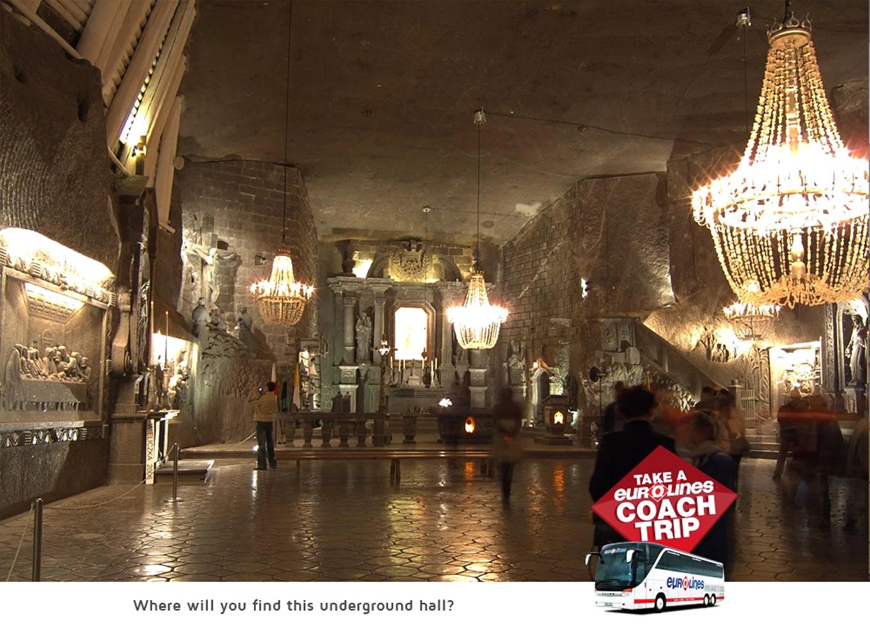Destination Wieliczka Poland Poster of Coach Trip Campaign by Eurolines UK