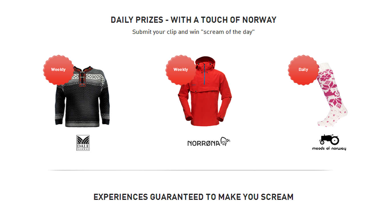 Dream Destination Scream Daily Prizes of The Scream Tourism Campaign by Visit Norway