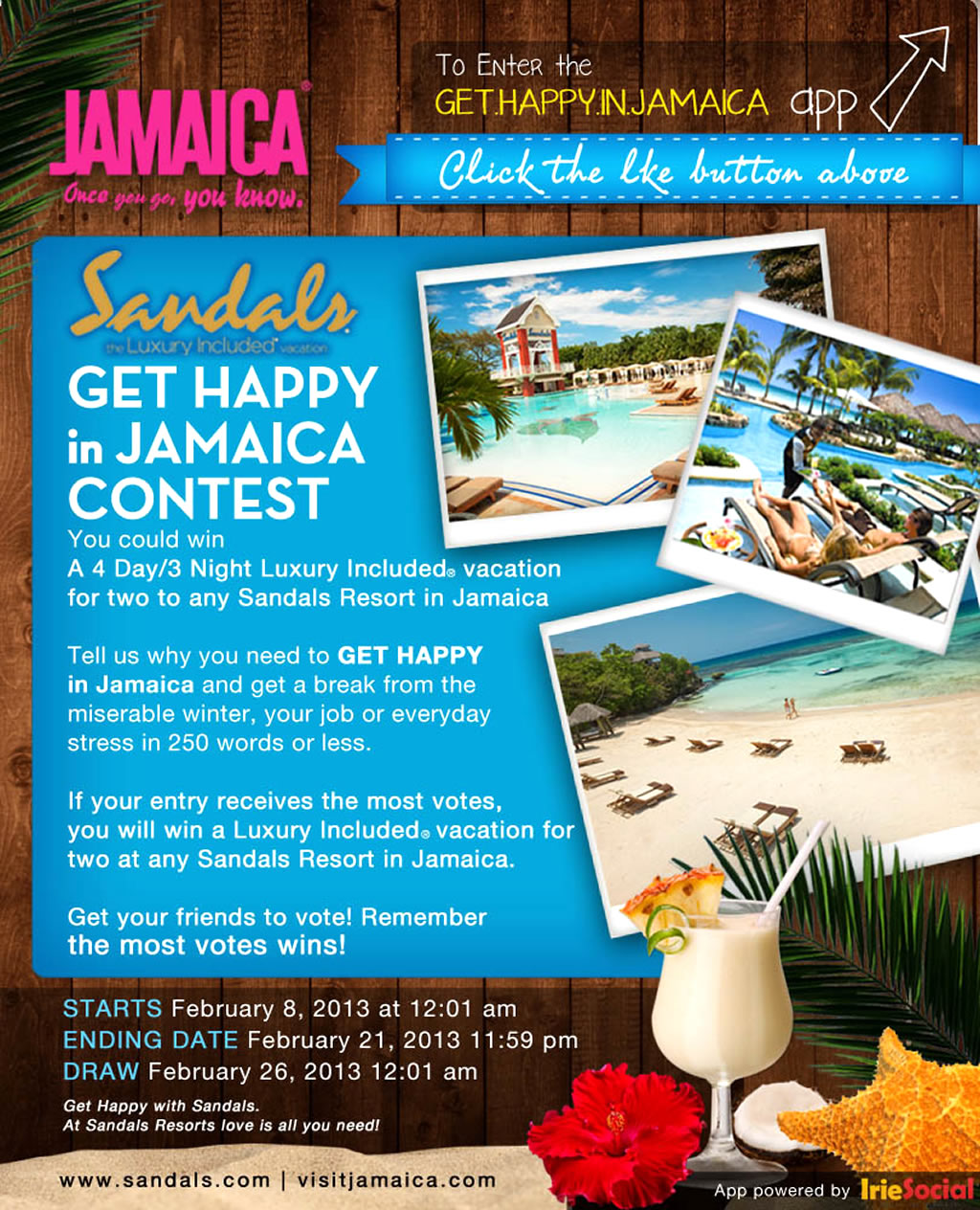 Facebook Contest of Get Happy In Jamaica Marketing Campaign by Jamaica Tourist Board