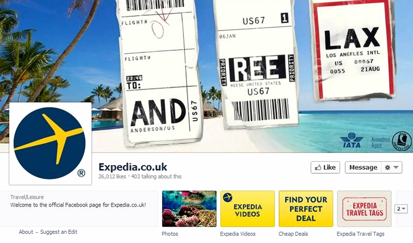 Facebook Cover Design of Luggage Tags Marketing Campaign by Expedia UK