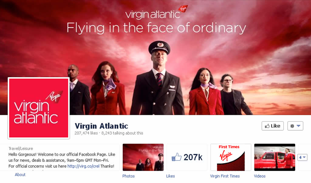 Facebook Page Cover Profile Design of Virgin Atlantic