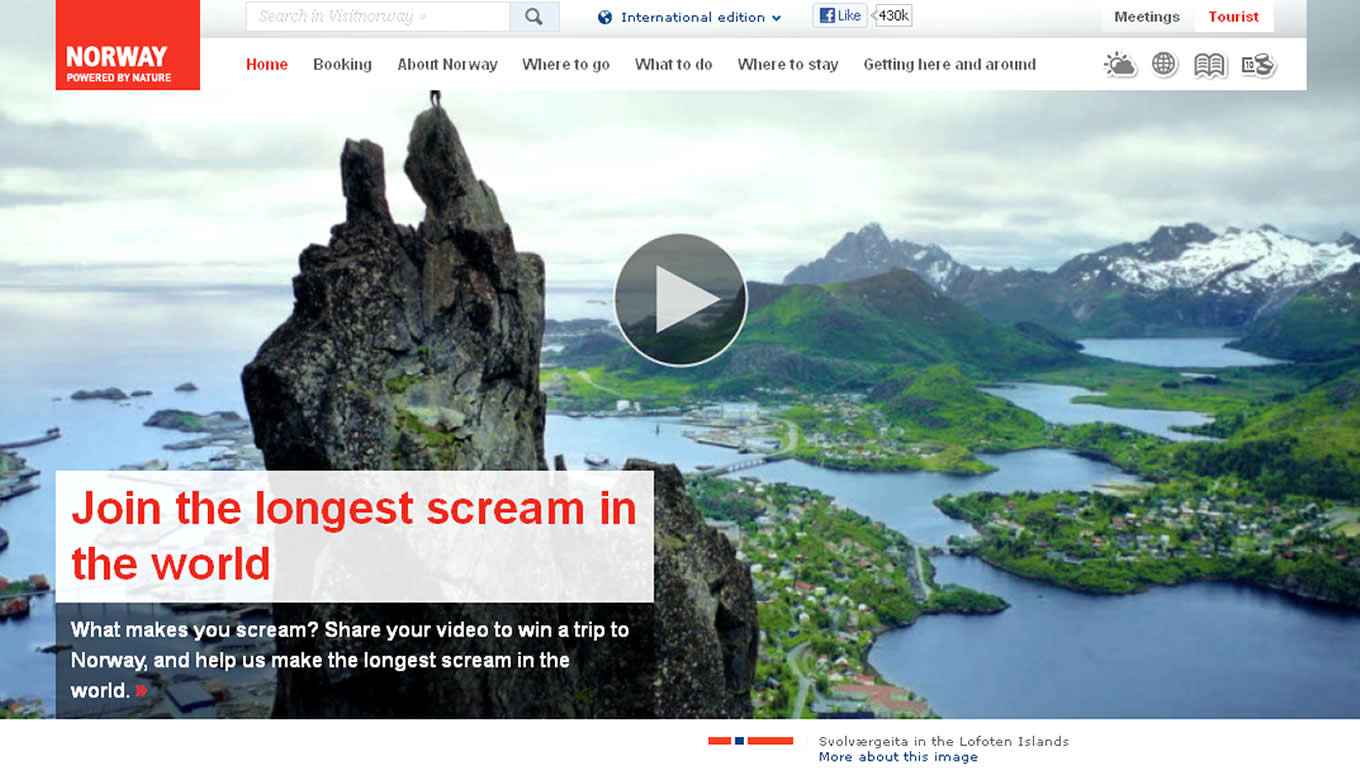 Homepage Make Over Design of The Scream Tourism Campaign by Visit Norway