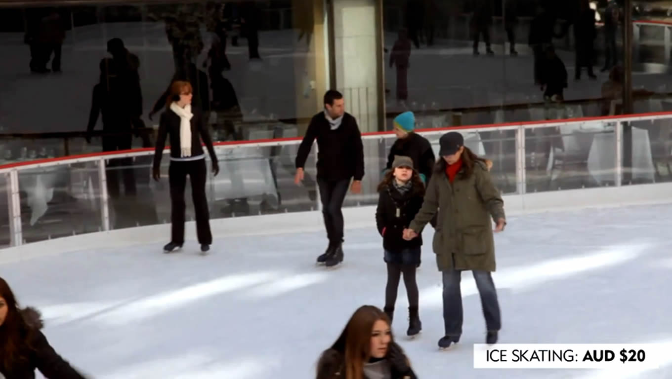 Ice Skating at Rockefeller Plaza, No Booking Fees Marketing Campaign by Expedia Australia