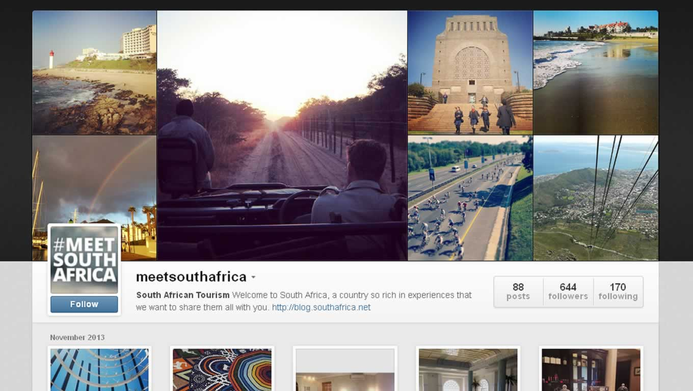 Instagram Account of South Africa Tourism for Destination Marketing Campaign