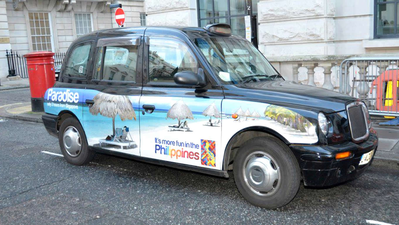 London Taxi Tourism Advertising for More Fun in The Philippines Campaign