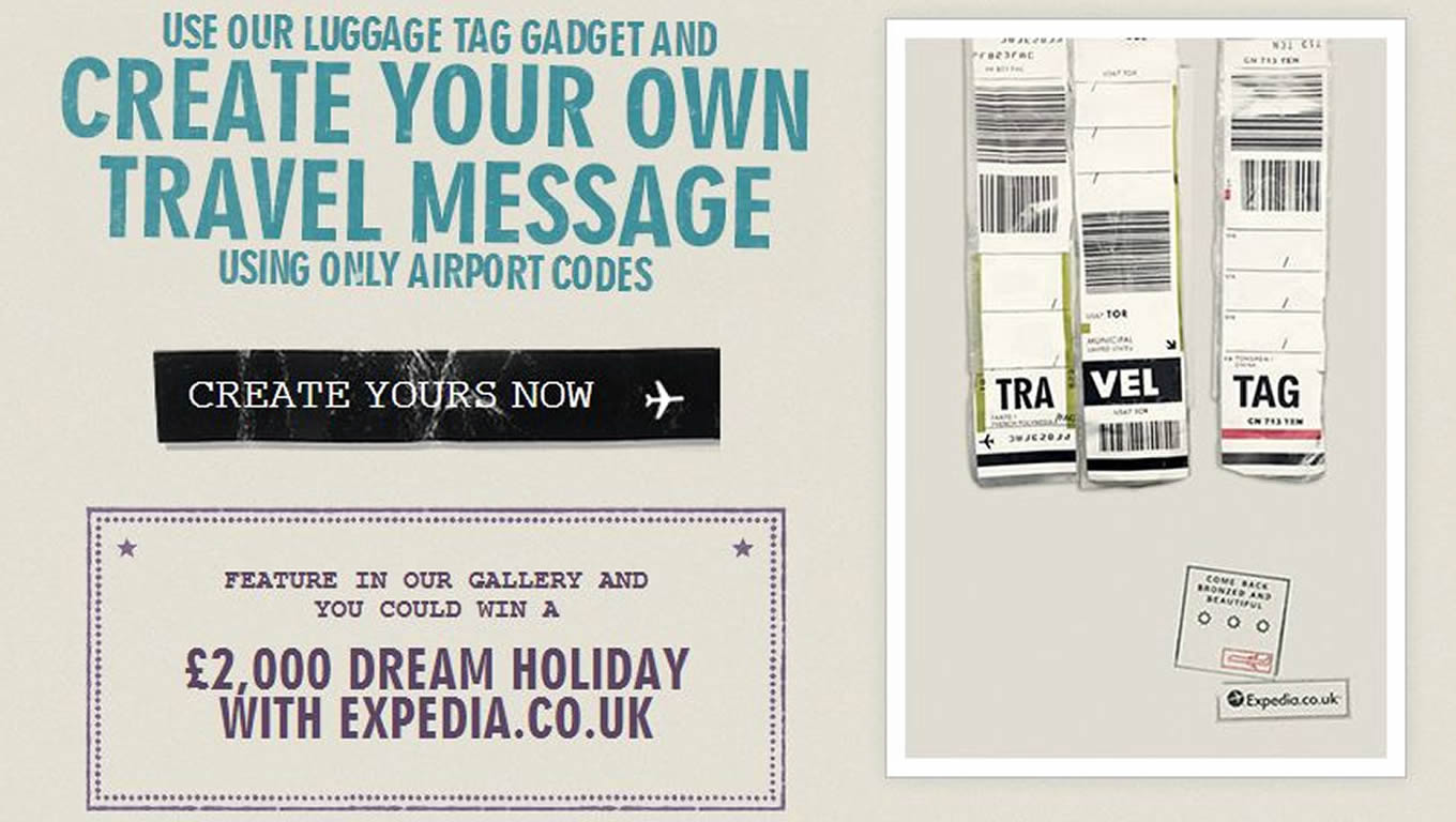 Luggage Tags Facebook App, Online Marketing Campaign by Expedia UK