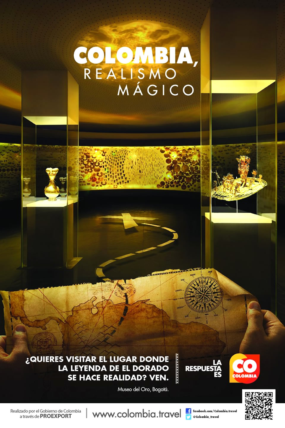 Museo del Oro Tourism Advertisement Poster of Colombia Magical Realism