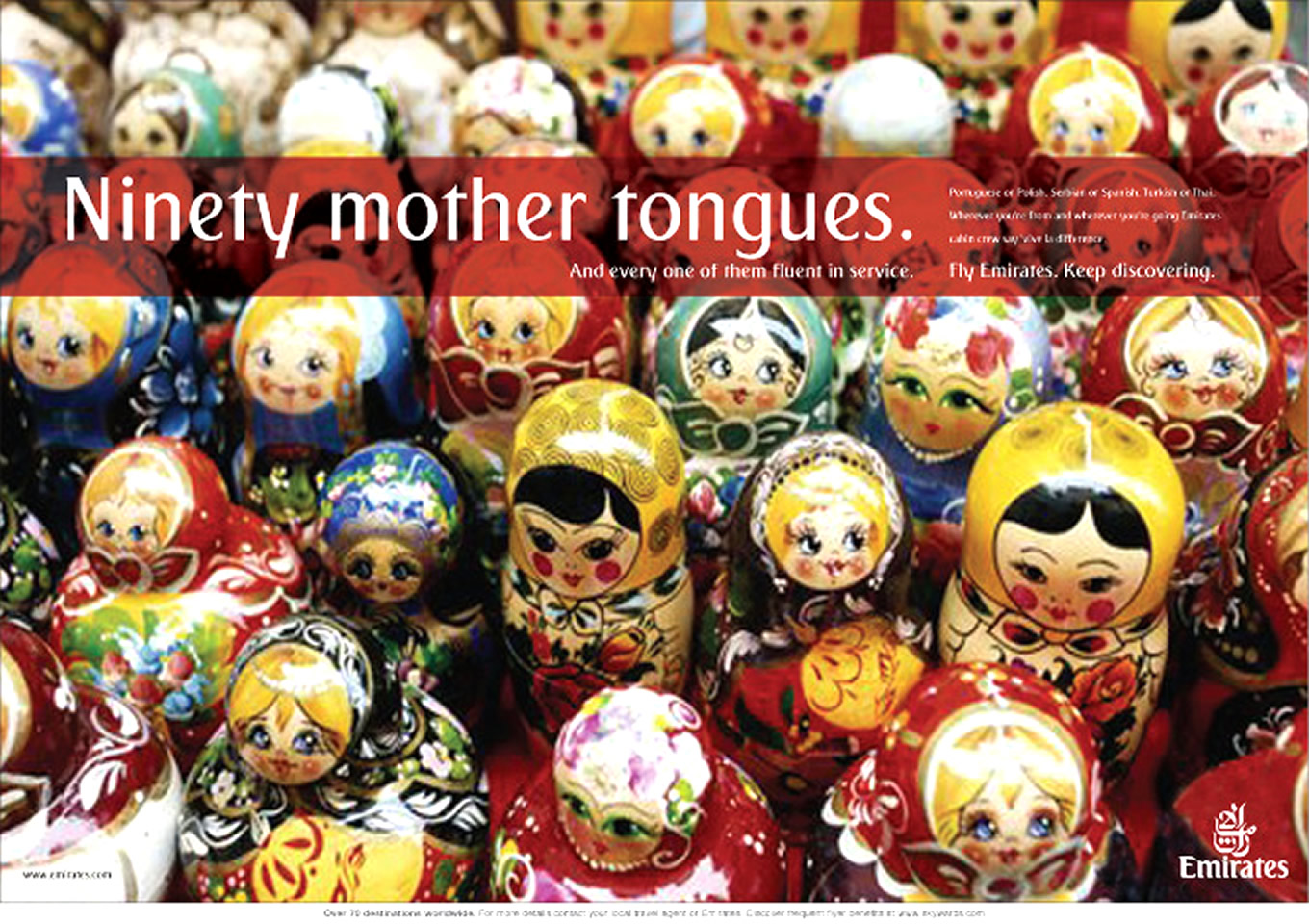 Ninety Mother Tongues Print Advertising, Keep Discovering Marketing Campaign by Emirates