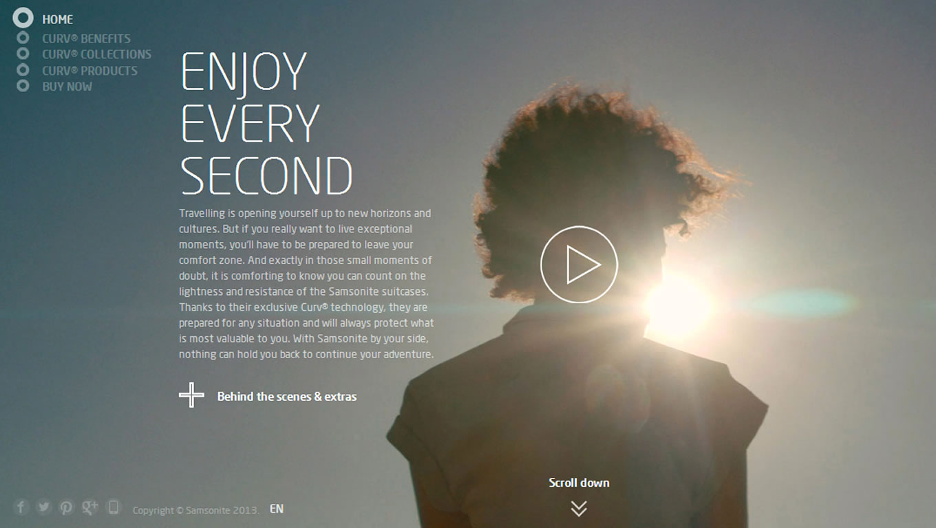 Online Website Design for Enjoy Every Second Marketing Campaign by Samsonite Europe