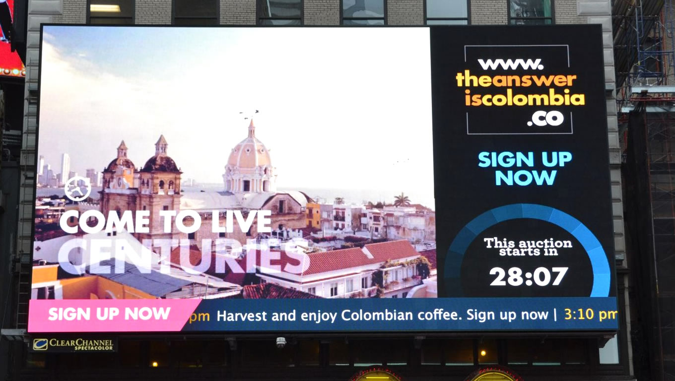 Outdoor Billboard Advertising in Times Square NYC by Colombia Country Brand