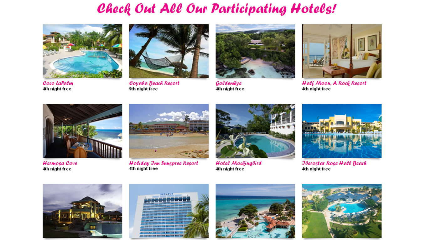Participating Hotels of Get Happy In Jamaica Destination Marketing Campaign by Jamaica Tourist Board