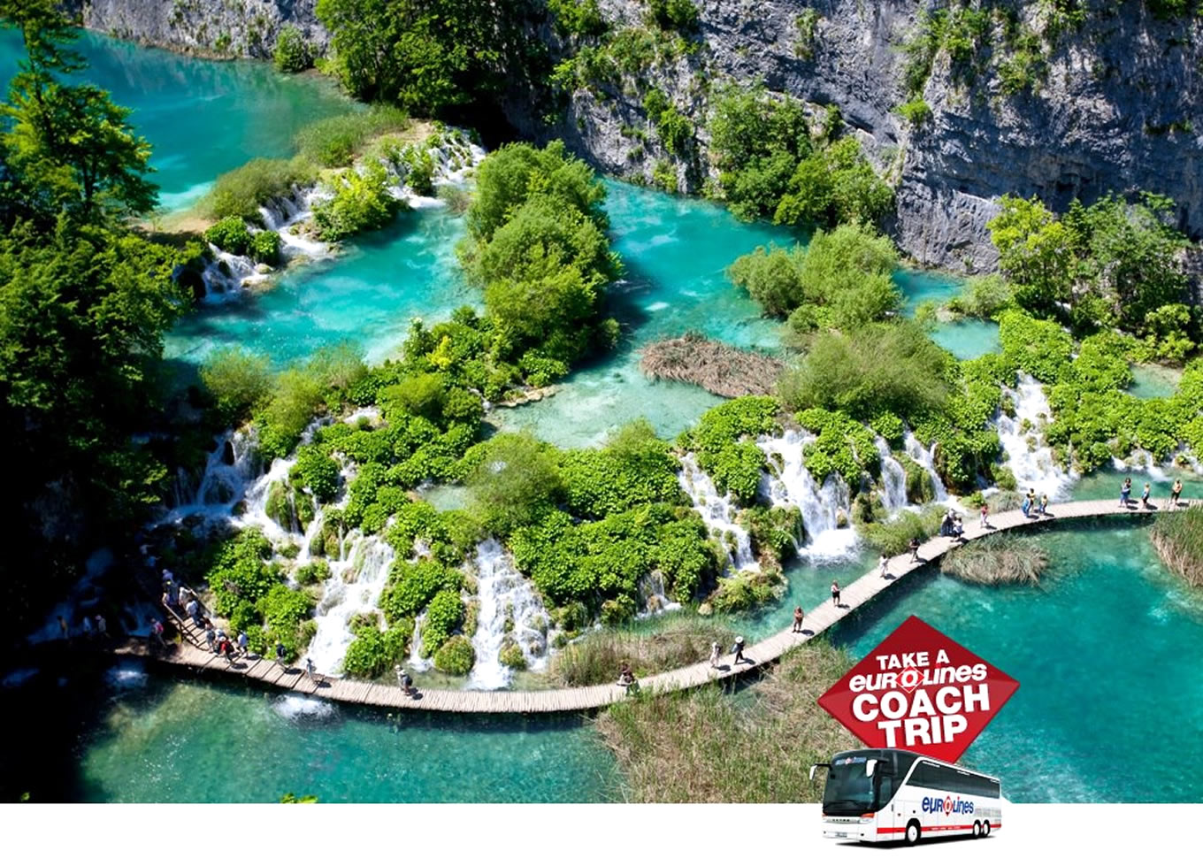 Plitvice Lakes in Croatia Poster of Coach Trip Campaign by Eurolines UK