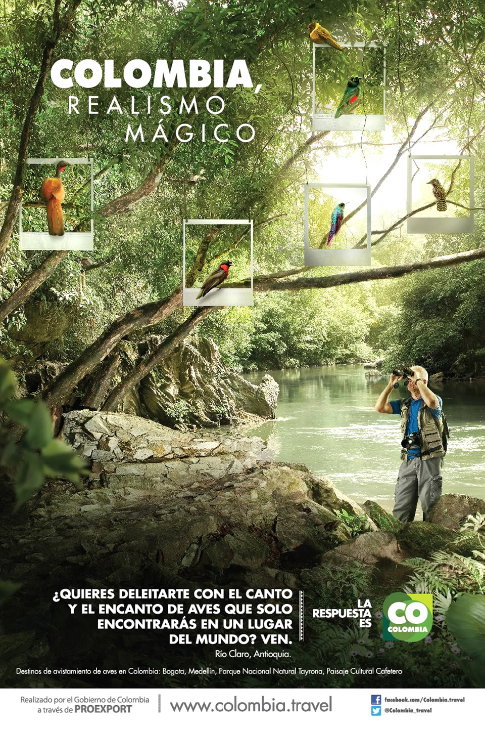 Rio Claro Tourism Advertisement Poster of Colombia Magical Realism