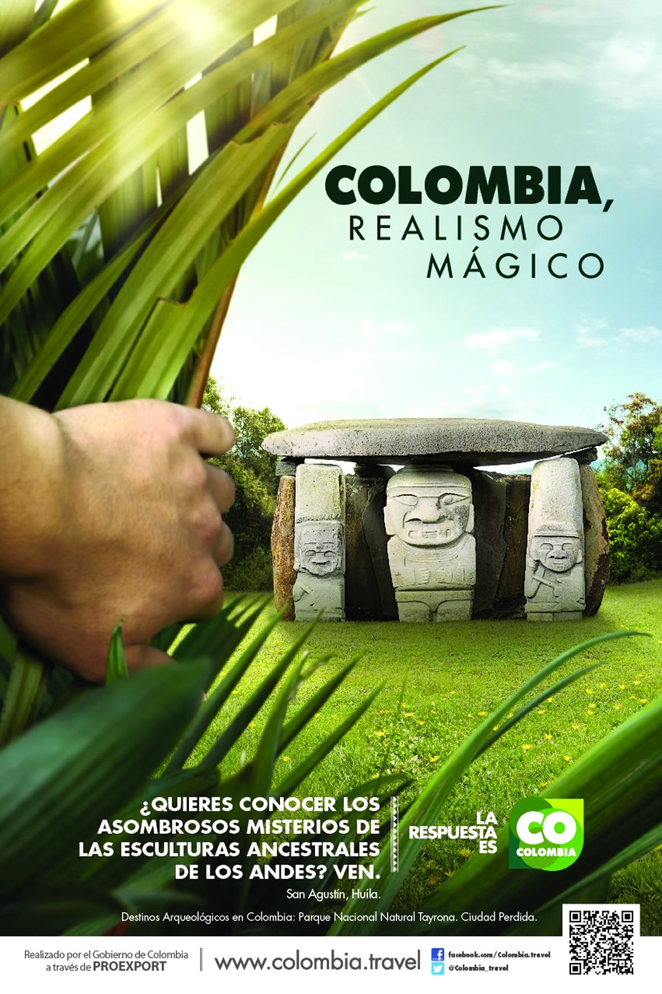 San Agustin Tourism Advertisement Poster of Colombia Magical Realism