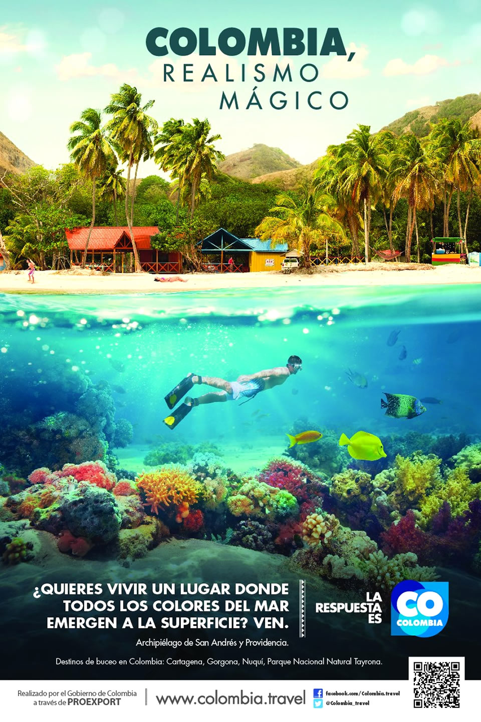 San Andres Tourism Advertisement Poster of Colombia Magical Realism