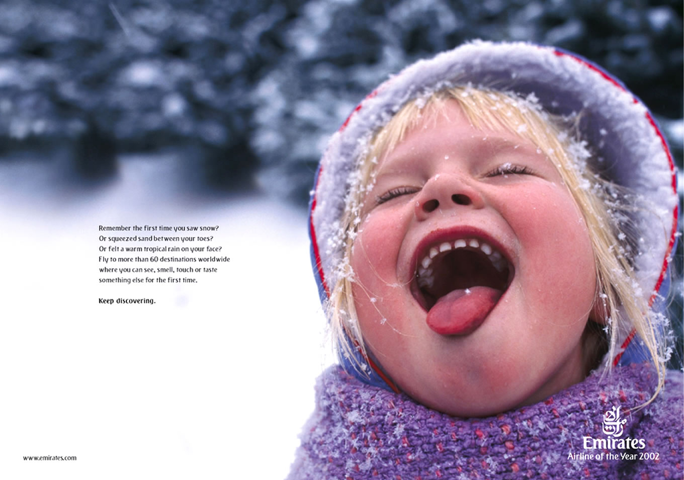 Snow Girl Print Advertising, Keep Discovering Marketing Campaign by Emirates