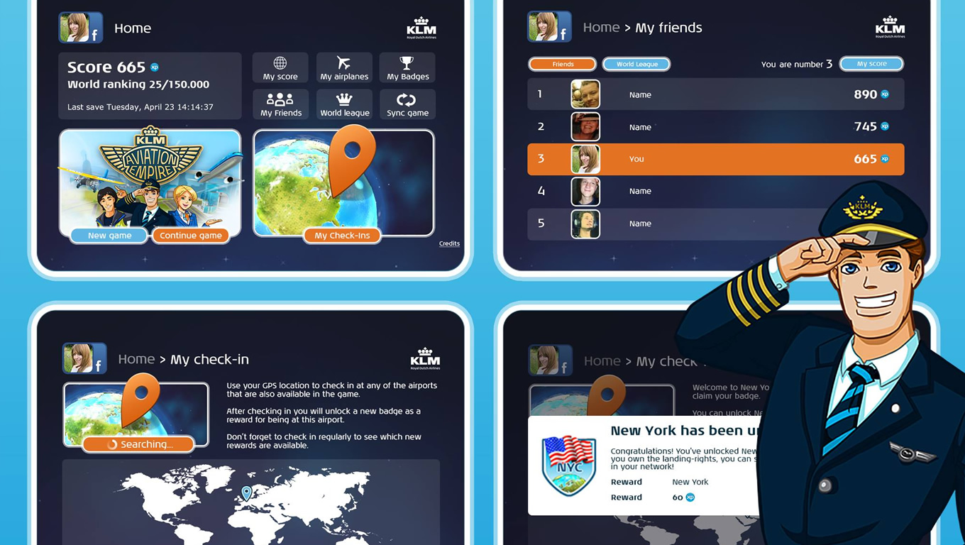 Social Leader Boards of Aviation Empire App as Brand Advertising Campaign by KLM Netherlands