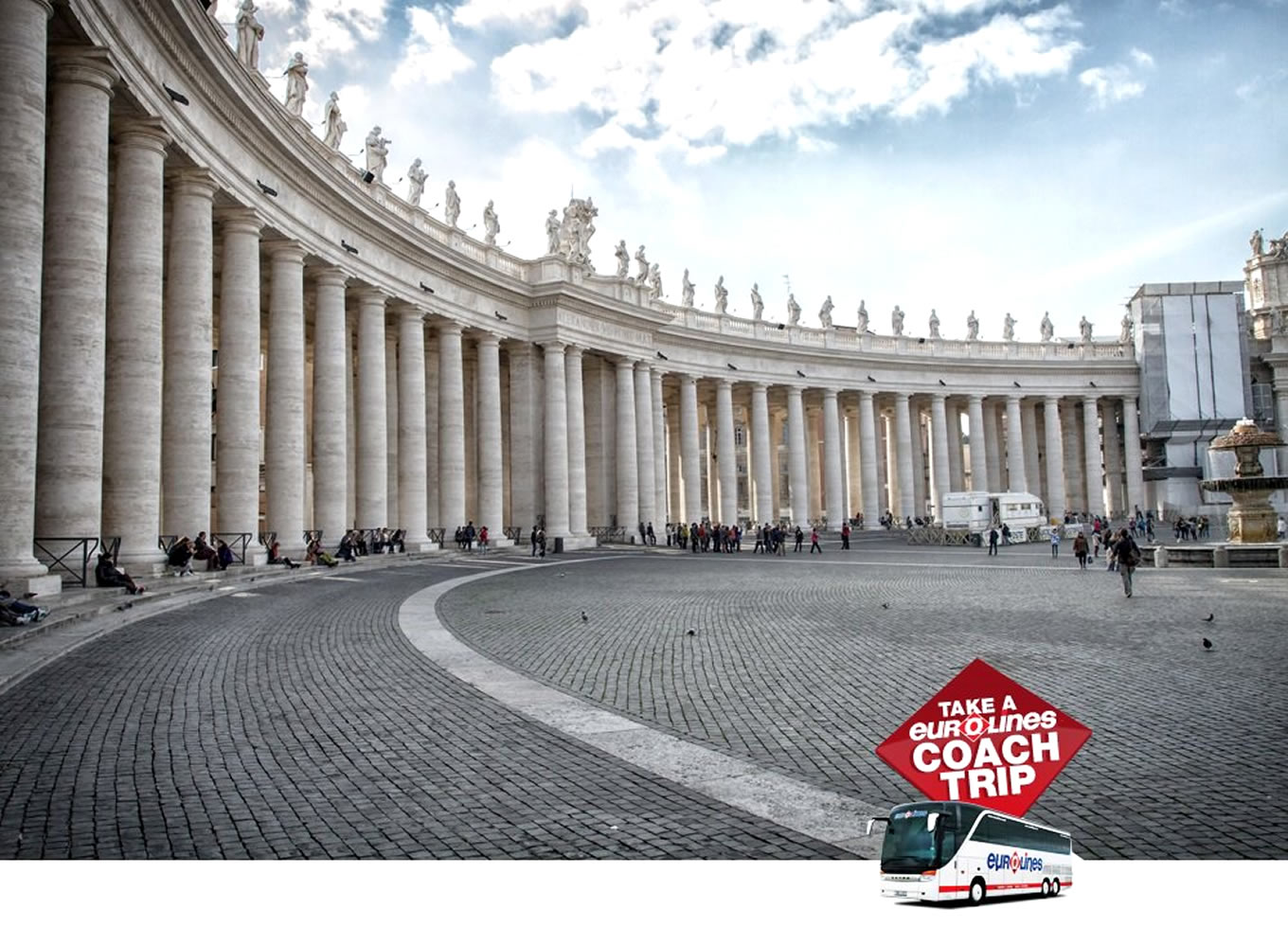 St Pieter Square Vatican Rome Poster of Coach Trip Campaign by Eurolines UK