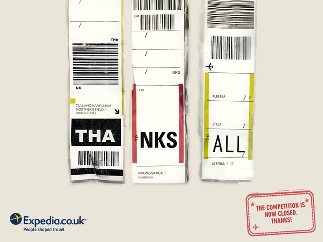 Thank You Airport Code, Luggage Tags Marketing Campaign by Expedia UK