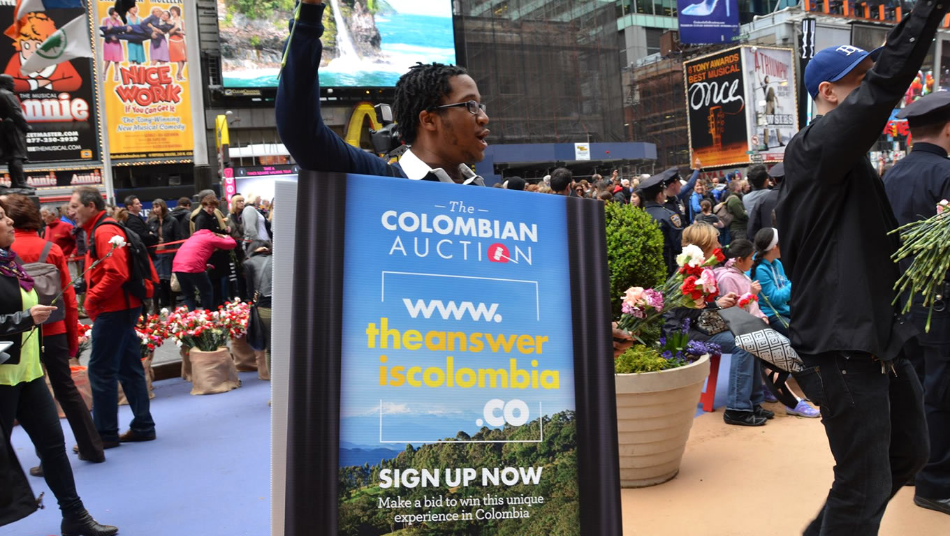 The Columbian Live Aution in Times Square NYC by Colombia Country Brand