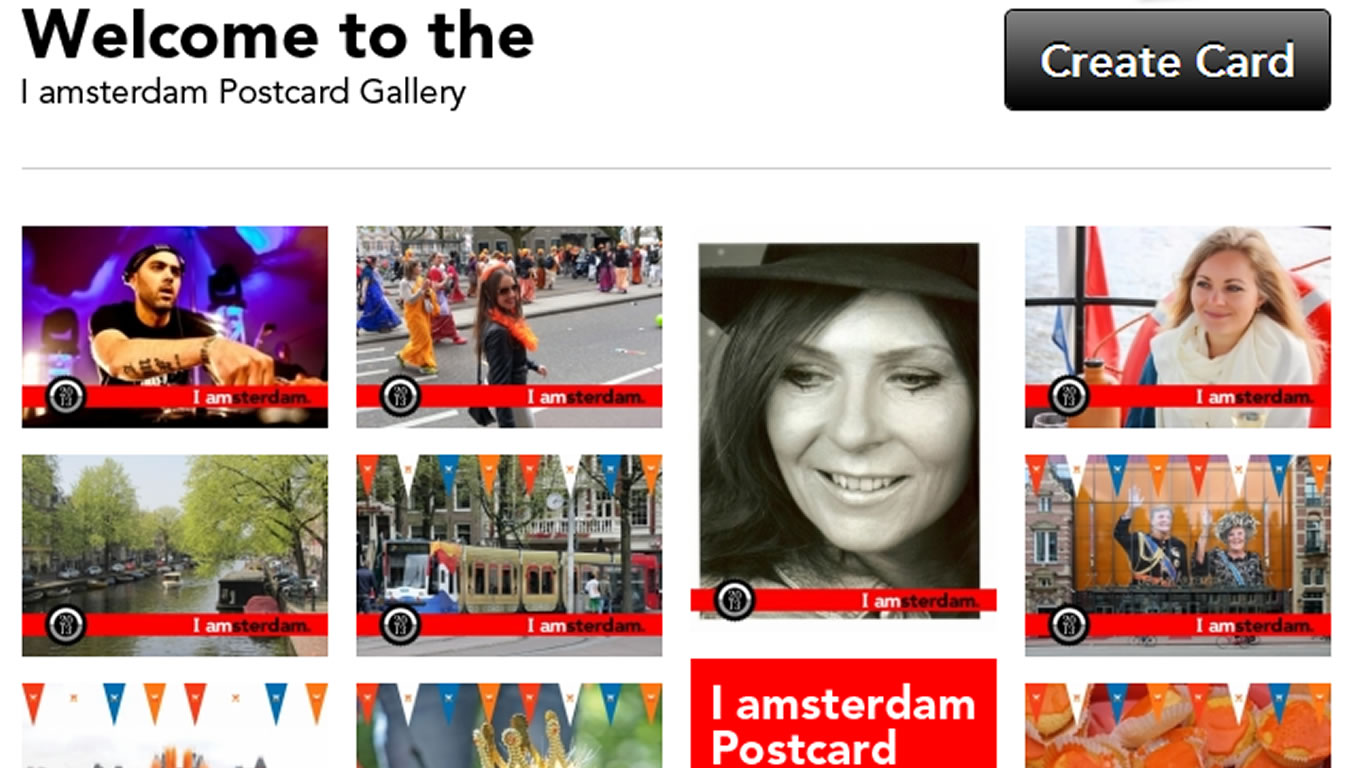 User Generated Postcard Gallery for Amsterdam Marketing Campaign, Netherlands