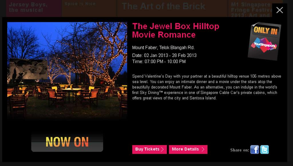 Valentine in Singapore, The Jewel Box Hilltop Movie Romance