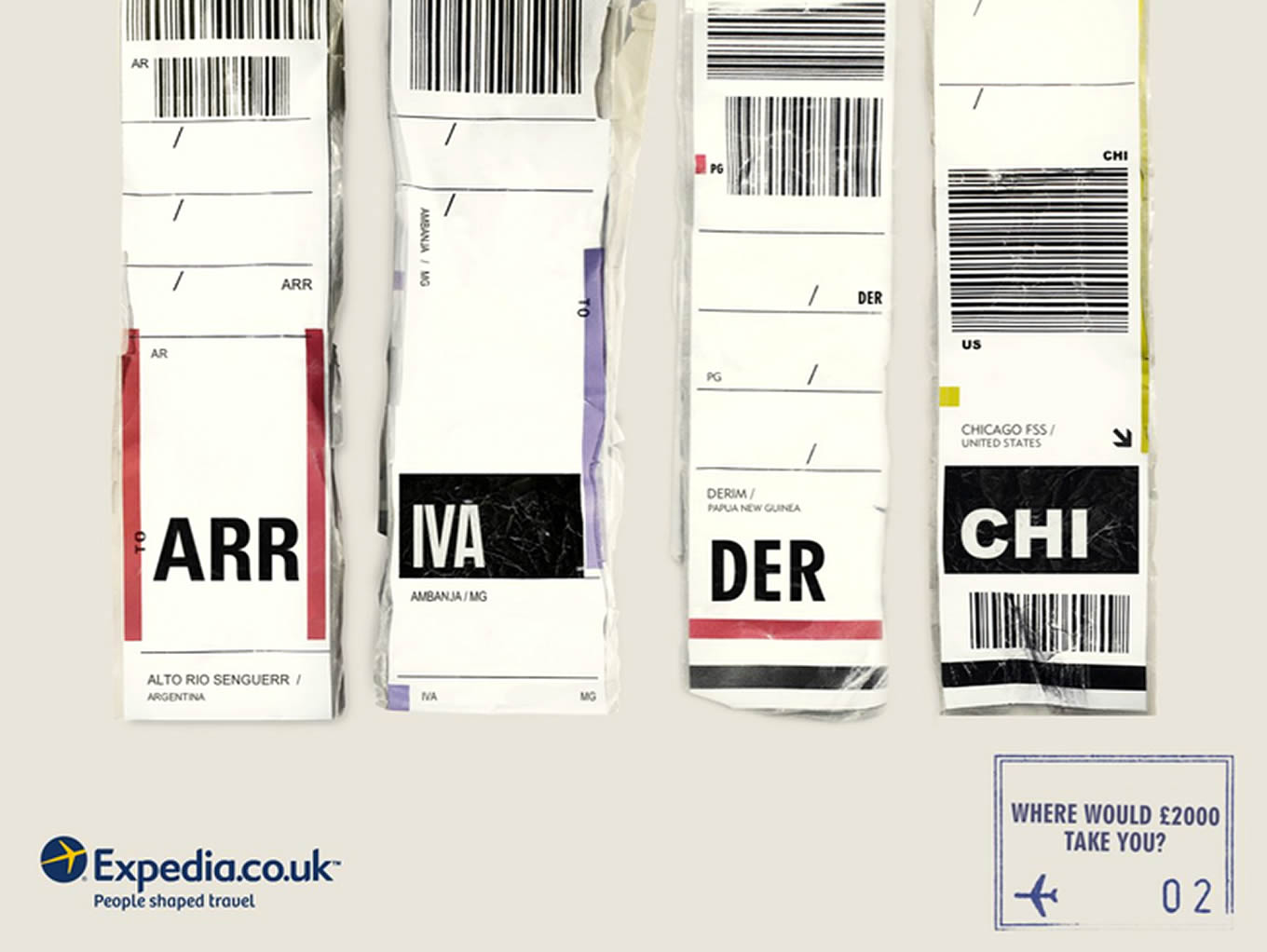 Winner Destinatiion Airport Code, Luggage Tags Marketing Campaign by Expedia UK