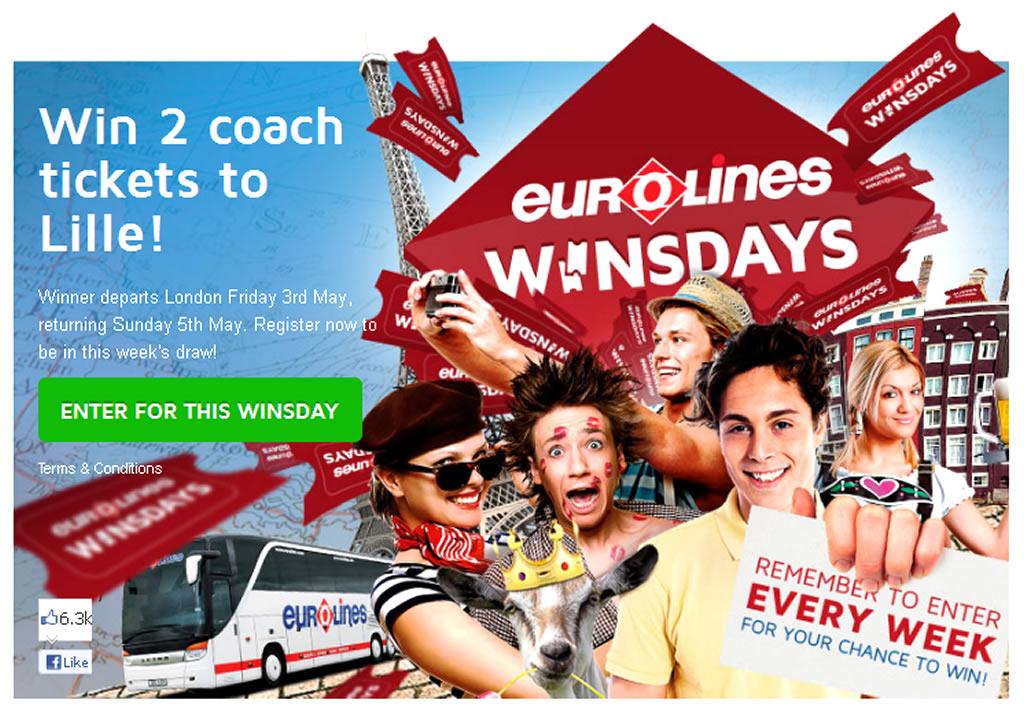 Winsdays Facebook App for Coach Trip Marketing Campaign by Eurolines UK