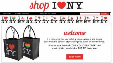 Online Shop Frontpage Design of I Love NY Webstore, New York
