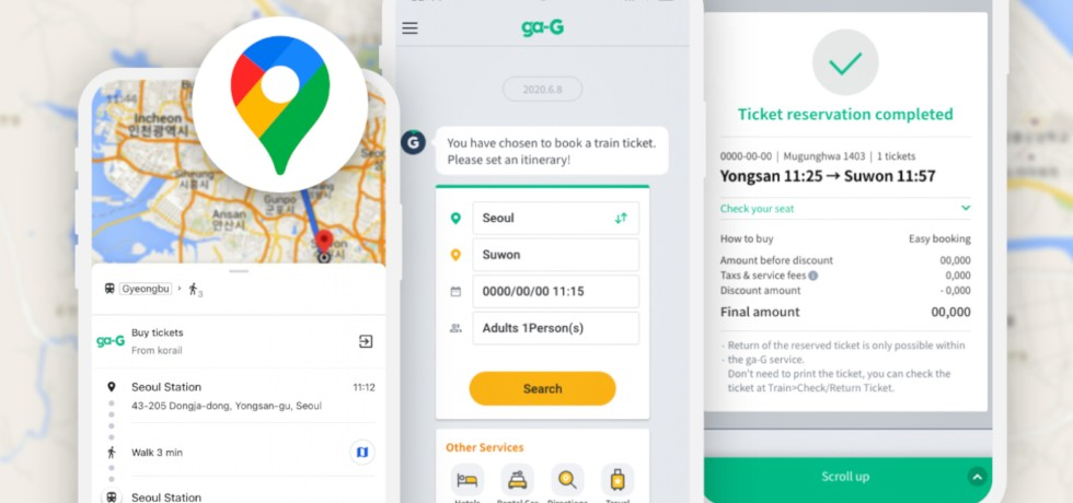 gaG, Korea Railroad Ticketing System on Google Maps