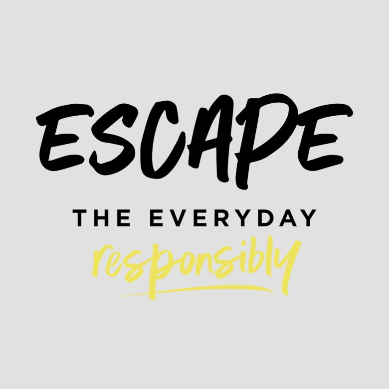 Escape The Everyday Responsibly Logo - Black and Lemon Fizz