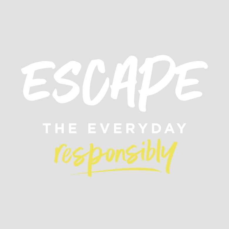Escape The Everyday Responsibly Logo - White and Lemon Fizz