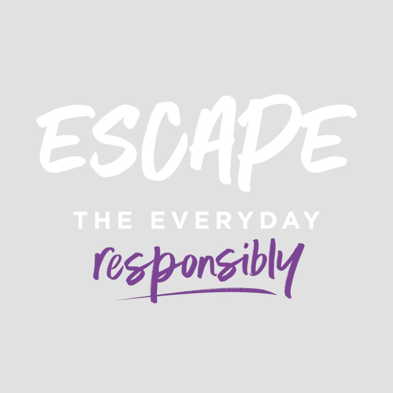 Escape The Everyday Responsibly Logo - White and Purple